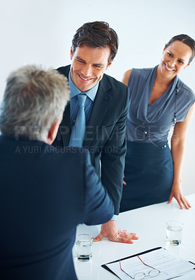 Buy stock photo Business people discussing with senior leader in office