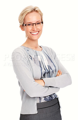 Buy stock photo Portrait of elegant business woman smiling on white background