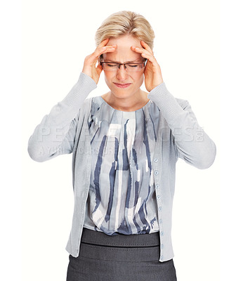 Buy stock photo Portrait of Caucasian business woman suffering from severe headache over white background