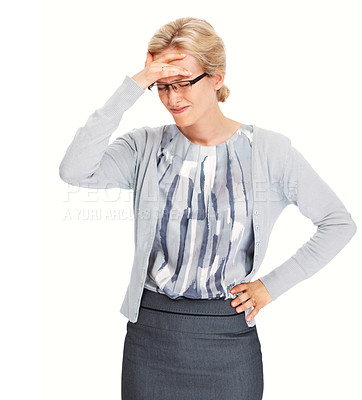 Buy stock photo Portrait of young business woman having head pain over white background