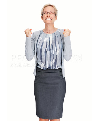Buy stock photo Portrait of angry young business woman with clenched fist on white background