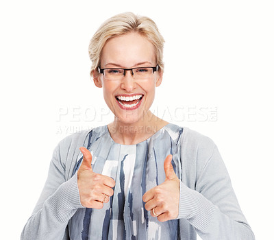 Buy stock photo Portrait of enthusiastic business woman giving thumbs up gesture over white background