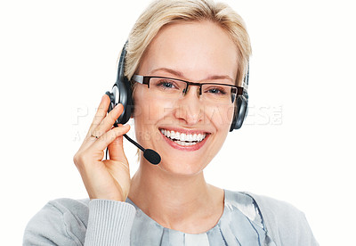 Buy stock photo Closeup of pretty young business woman working with headphone over white background