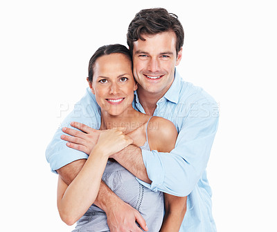 Buy stock photo Portrait of handsome man embracing woman on white background
