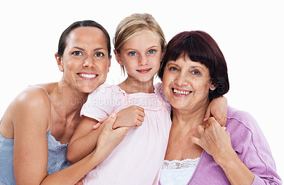 Buy stock photo Portrait of mother, grandmother with cute little girl on white background