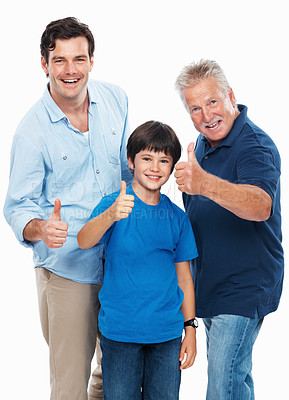 Buy stock photo Portrait of cute boy with father and grandfather giving you thumbs up on white background