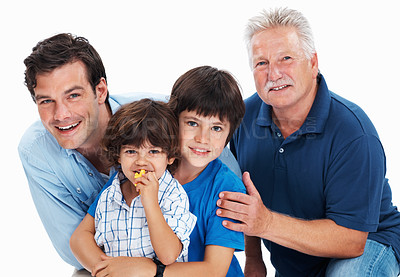 Buy stock photo Portrait of mature man with son and grandchildren on white background