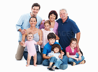 Buy stock photo Full length portrait of three generation family on white background