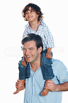 Buy stock photo Portrait of handsome man carrying son on his shoulder