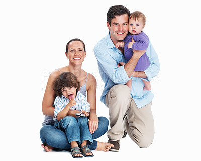 Buy stock photo Family portrait - Family sitting together on white background