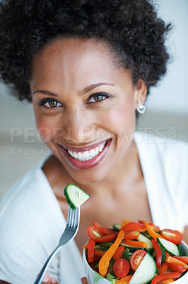 Buy stock photo Closeup portrait of pretty African American woman eating vegetable salad