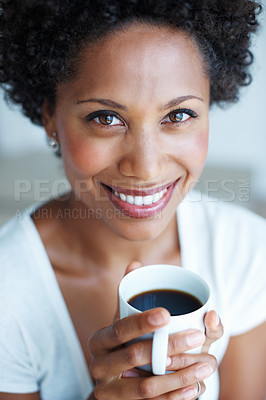 Buy stock photo Closeup portrait of African American woman with fresh cup of black coffee