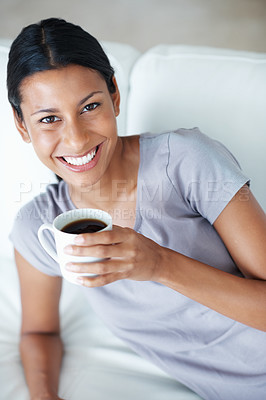 Buy stock photo Portrait of beautiful woman smiling with cup of coffee