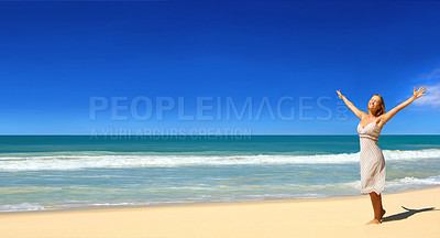 Buy stock photo Picture fo a beautiful beach in the tropics, with a woman on the beach. Arms raised in well being.