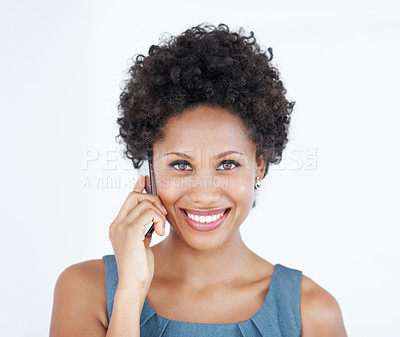 Buy stock photo Portrait of beautiful business woman smiling while using cellphone