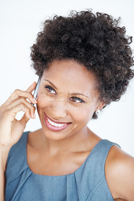 Buy stock photo Closeup of charming business woman smiling during phone call on white background