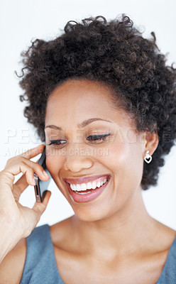 Buy stock photo Closeup of beautiful business woman laughing during phone call on white background