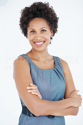 Buy stock photo Portrait of modern African American business woman smiling with hands folded