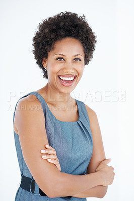 Buy stock photo Portrait of confident business woman laughing over white background with hands folded