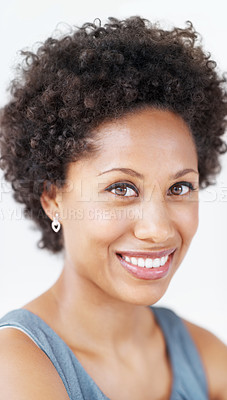 Buy stock photo Closeup of attractive business woman smiling at you