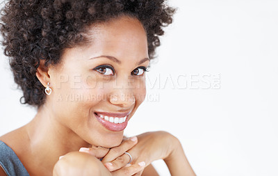 Buy stock photo Closeup of attractive African American business woman smiling over white background