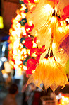 Leaf-shaped lanterns on the streets of Thailand