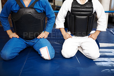 Buy stock photo Shot of two young martial artists kneeling in prayer before a fight