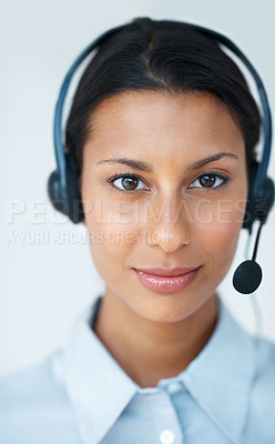 Buy stock photo Portrait of young female customer service representative wearing headset