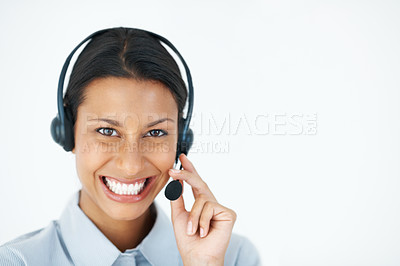 Buy stock photo Closeup portrait of female customer care executive smiling over white background