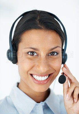 Buy stock photo Portrait of beautiful call center employee smiling over white background