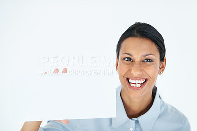 Buy stock photo Portrait of mixed race business woman showing blank card