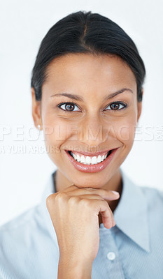 Buy stock photo Portrait of beautiful business woman smiling with hand on chin