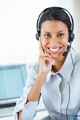 Buy stock photo Portrait of beautiful mixed race call center employee smiling at office desk