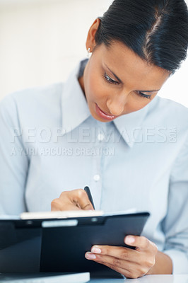 Buy stock photo Closeup of beautiful young business woman taking notes
