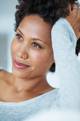 Buy stock photo Closeup of gorgeous African American woman daydreaming on couch
