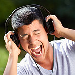 Singing along to his favourite song