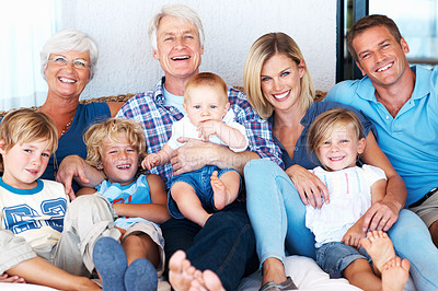 Buy stock photo Portrait happy multi generation family smiling together on couch