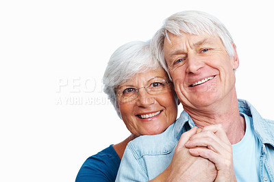 Buy stock photo Shot of a loving senior couple against a white background