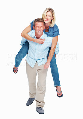 Buy stock photo Studio shot of a man piggybacking his wife