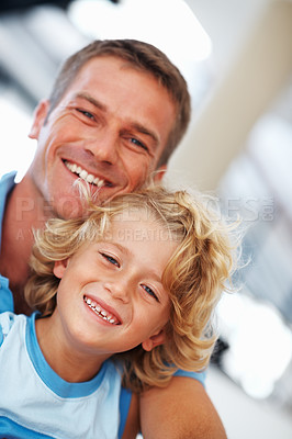Buy stock photo Portrait of handsome Caucasian man smiling with little son