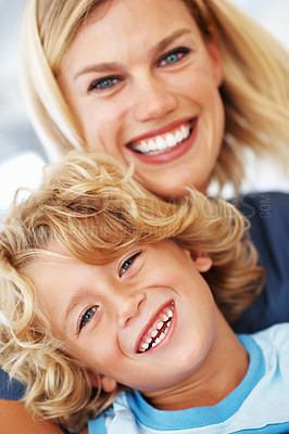 Buy stock photo Portrait of beautiful Caucasian woman smiling with cheerful son
