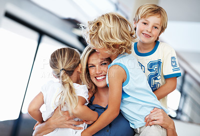 Buy stock photo Portrait of beautiful middle aged woman smiling with kids