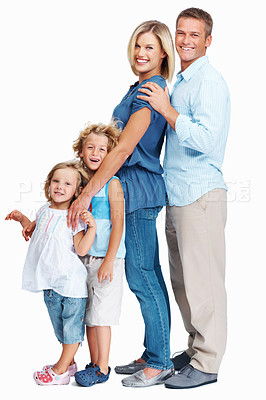 Buy stock photo Side view of a family of four standing in a row