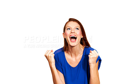 Buy stock photo A young woman clenching her fists in joy - Isolated