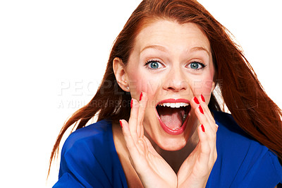 Buy stock photo Portrait of a young woman cupping her hands in front of her mouth and yelling - Isolated