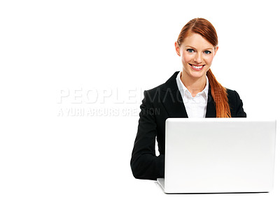 Buy stock photo Portrait of a young businesswoman sitting in front of her laptop