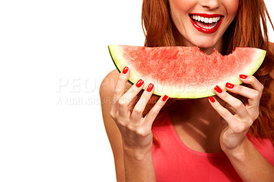 Buy stock photo Cropped image of a young woman holding a juicy slice of watermelon
