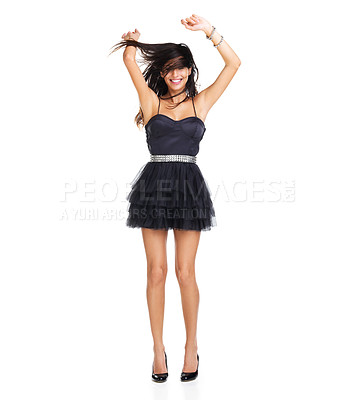 Buy stock photo Gorgeous young brunette dancing enthusiastically with her arms raised above her head