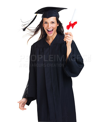 Buy stock photo Happy young brunette in a graduation gown and cap holding her diploma