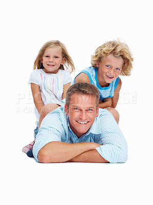 Buy stock photo Portrait of two kids sitting on their father's back over a white background